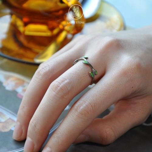 Leaf - Cloisionne Enameling Silver Ring