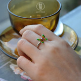 Green Butterfly - Cloisonne Enameling Silver Ring