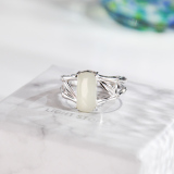 Bamboo Root - Chinese Jade Silver Ring - Online Shop | LIGHT STONE