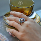 Flower - Cloisonne Enameling Silver Pear Ring
