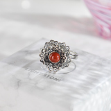 Peony -  Chinese Red Agate Silver Ring - Handmade - Online Shop | LIGHT STONE