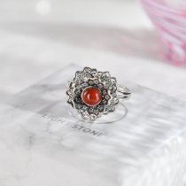 Peony -  Red Agate Silver Ring