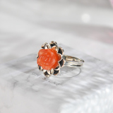 Flower - Red Agate Silver Ring