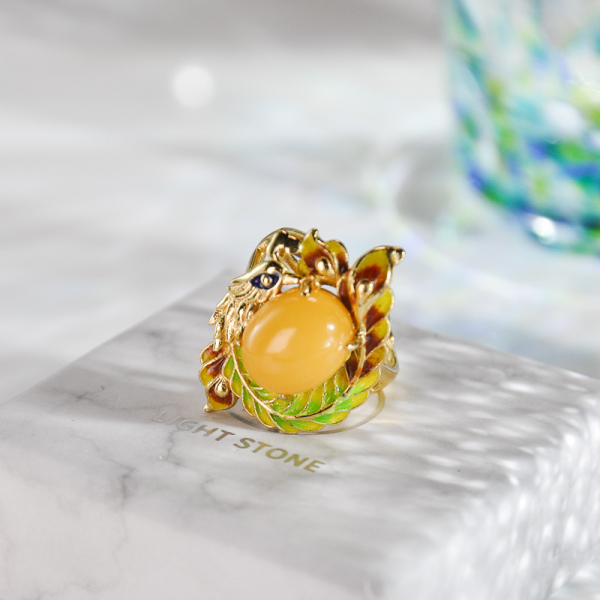 Colorful Phoenix -  Amber Silver Enameling Ring
