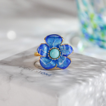 Five Leafs Flower - Silver Turquoise Ring
