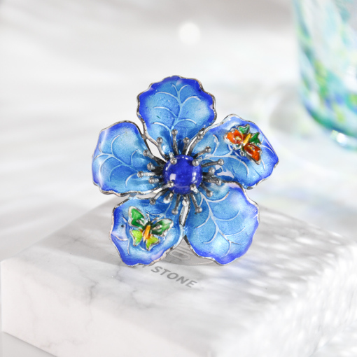 Blue Flower -Burning Blue Cloisonne Lazurite Silver Ring