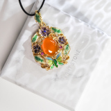 Online Necklace  - Amber Chinese Enameling Cloisonne Silver Necklace | LIGHT STONE