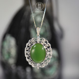 Vintage Flower - Chinese Green Hetian Jade Silver Necklace - Online Shop | LIGHT STONE