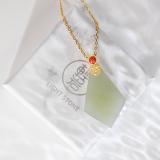 Jade Plaque - Light Green Jade Silver Necklace -  Online Shop | LIGHT STONE