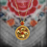 Gold Wheel- Red Agate Silver Necklace -Chinese Artisan Jewelry   LIGHT STONE