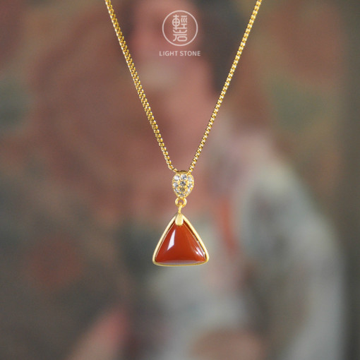 Triangle - Red Agate Silver Necklace