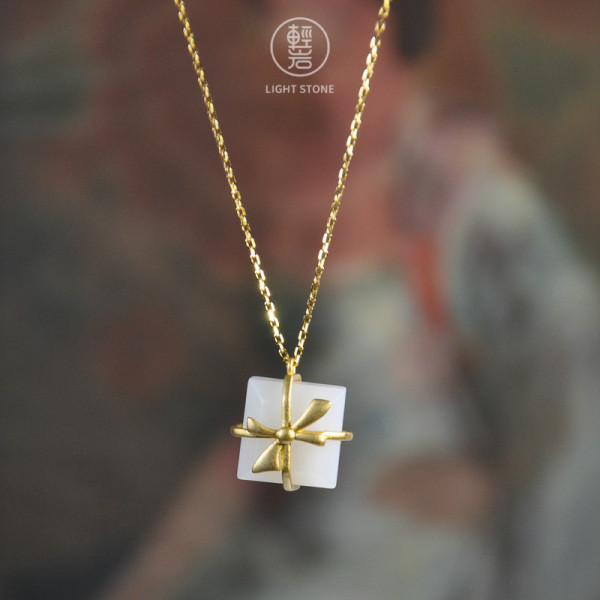 Bowknot - White Jade Necklace