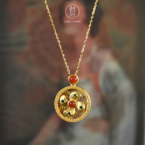 Gold Wheel - Red Agate Silver Necklace