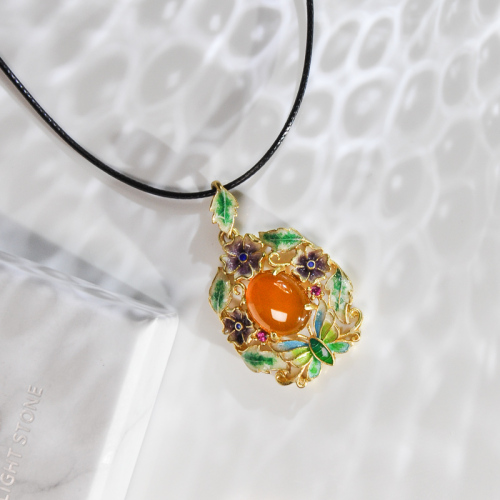 Butterfly in Forest - Cloisonne Enamel Silver Amber Necklace