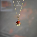Bell - Red Agate Silver Necklace -Chinese Artisan Jewelry   LIGHT STONE