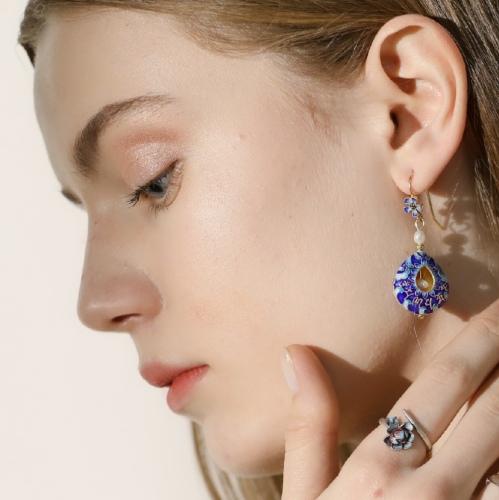 Mantra Sky Pearl Earrings - Burning Blue Silver Cloisoinne Enamel Earrings