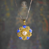 Sun Flower - Gilt Silver Enameling Pearl Necklace