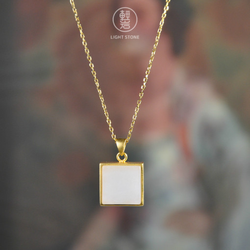 Square  - Gilt Silver Jade Necklace