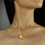 Sun Flower - Gilt Silver Chinese Enameling Pearl Necklace -Online Shop | LIGHT STONE