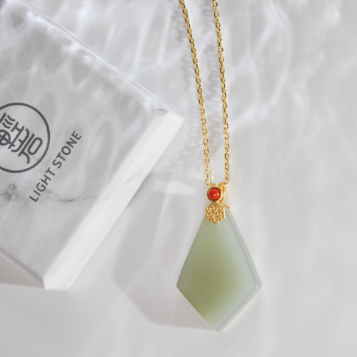 Jade Plaque - Light Green Jade Silver Necklace