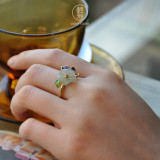 Online Ring Shop -  Flower - Chinese Cloisoinne Jade Silver Ring | LIGHT STONE