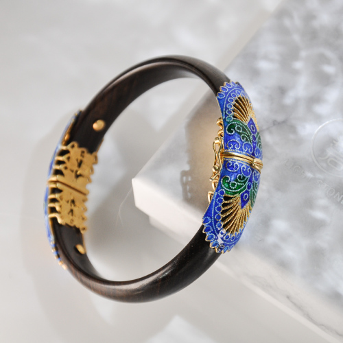 Forbidden City -Burning Blue Cloisonné Wood Bracelet