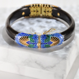 Forbidden City -Burning Blue Cloisonné Wood Bracelet
