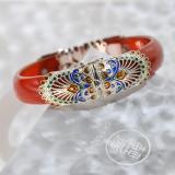 Chinese Bracelet - Enamel Cloisonné Red Agate Bracelet   LIGHT STONE
