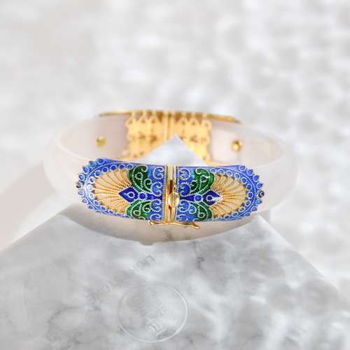 Forbidden City-Burning Blue Cloisonné White Chalcedony Bracelet