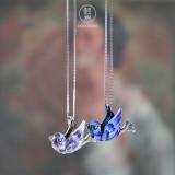 Online Necklace -Enameling Cloisonne Silver Necklace -Bird   LIGHT STONE