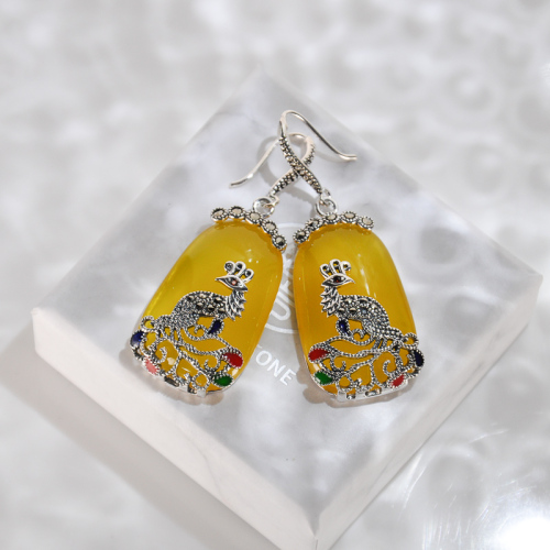 Yellow Chalcedony Peacock Silver Earrings