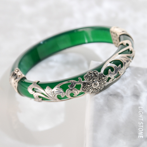 Lucky Clover - Green Chalcedony Mosaic Bracelet