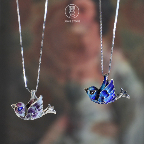 Flying Bird - Beijing Enameling Silver Necklace