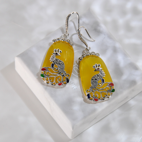 Yellow Chalcedony Peacock Silver Earrings