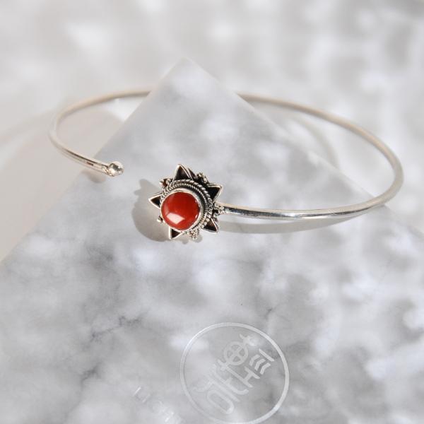 Star - Red Coral Handmade Tibetan Silver Bracelet