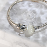 Vintage Elephant - Silver Jade Bangle
