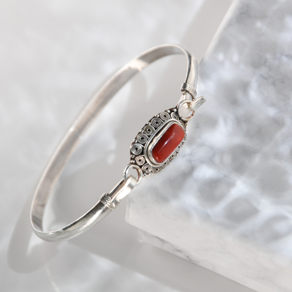 Flower - Red Coral Handmade Tibetan Silver Bracelet