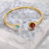 Turquoise - Red Agate Gilt Silver Bracelet