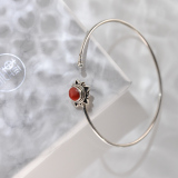 Chinese Handmade Jewelry- Online Shop-Red Coral Tibetan Silver Bracelet| LIGHT STONE