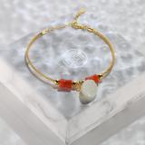 Chinese Artisan Jewelry - Handmade Red Agate Bracelet   LIGHT STONE