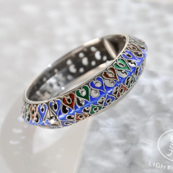 Passion Heart - Enameling Tibetan Handmade Silver Bracelet