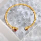 Online Shop - Chinese Red Agate Gilt Silver Bracelet | Light Stone