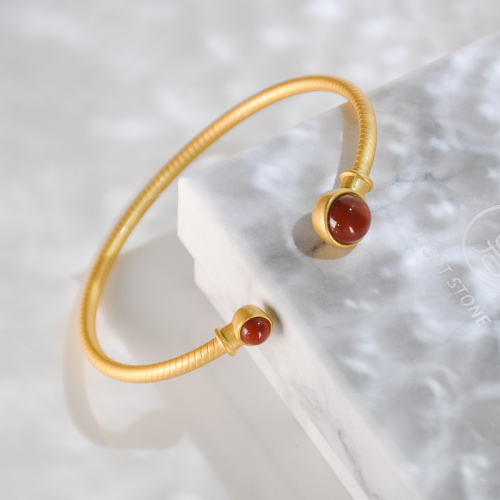 Red Agate Gilt Silver Bracelet