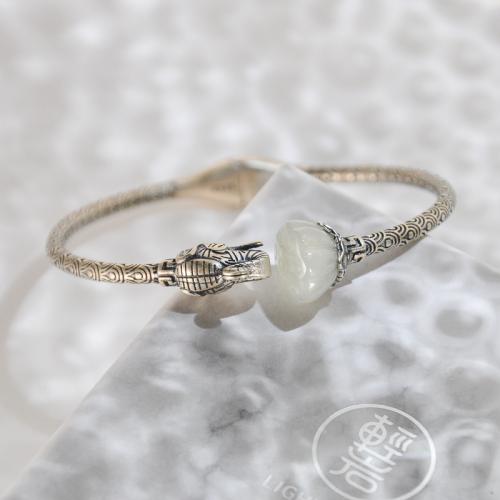 Vintage Elephant - Silver Jade Bangle
