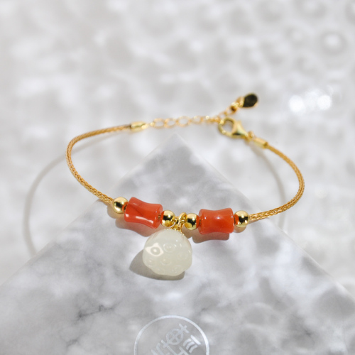 Remembrance - Red Agate and Jade Bracelet