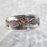 Chinese Artisan Jewelry - Gaisang - Enameling Tibetan Handmade Silver Bracelet| LIGHT STONE