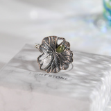 Chinese Artisan Jewelry- Lotus Leaf - Green Jade Silver Ring | LIGHT STONE