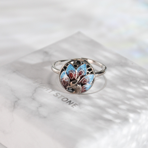 Peacock - Burning Blue Cloisonné Silver Ring