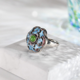 Blossoming - Chinese Artisan Silver Cloisonné Ring - Online Shop | LIGHT STONE