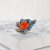 Leaf - Chinese Handmade Silver Enamel Stone Ring - Online Shop | LIGHT STONE